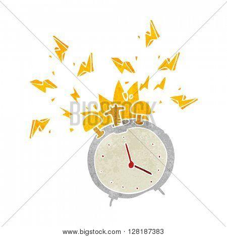 freehand retro cartoon ringing alarm clock