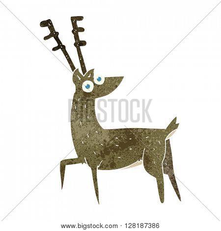 freehand retro cartoon stag
