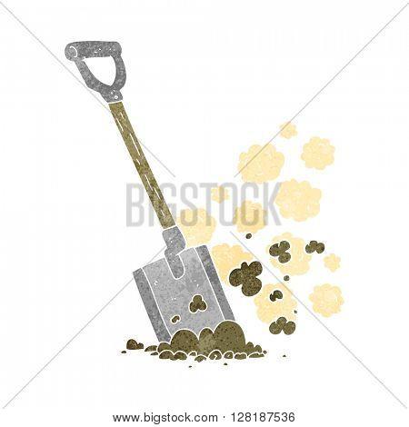 freehand retro cartoon shovel in dirt