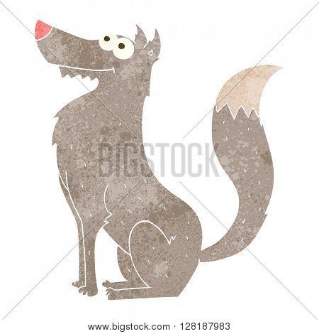 freehand retro cartoon wolf
