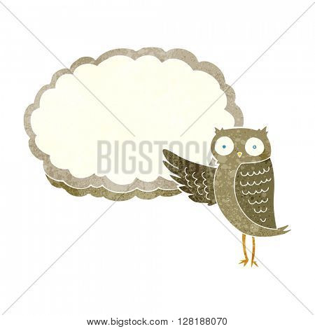freehand retro cartoon owl pointing