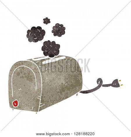 freehand retro cartoon toaster smoking