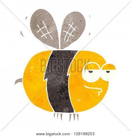 freehand retro cartoon unhappy bee