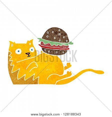 freehand retro cartoon fat cat with burger