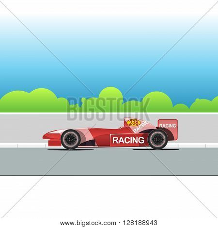 Racing bolide car on a racing track. Red single-seat auto racing. Racing track with green trees. Digital vector illustration.