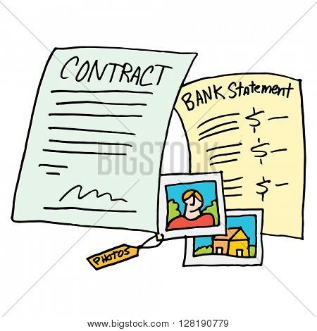 An image of a legal evidence contract documents.
