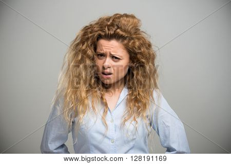 Portrait of an annoyed woman
