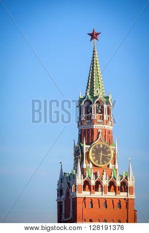 chiming clocks on a Spasskaya tower in Moscow Kremlin, Russia