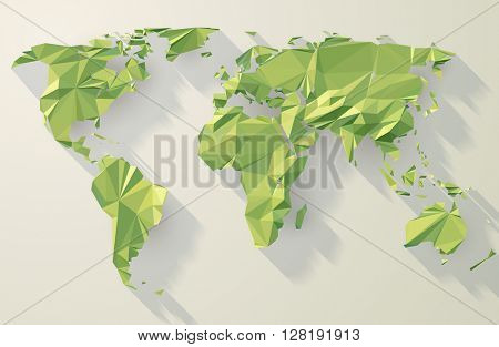 Vector world map. Low poly design. Green origami planet illustration.