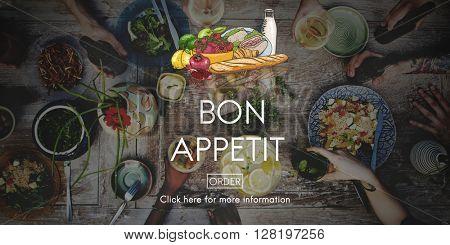 Bon Appetit Delicious Dining Eating Beverage Concept