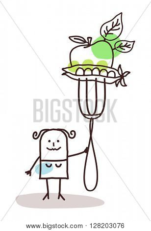 cartoon character with fork - vegetables
