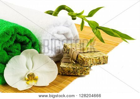 Spa and wellness concept with natural soap isolated on white. Spa stones. Wellness spa. Spa concept. Spa. Spa treatment