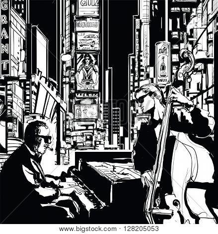 Jazz band in New York - vector illustration
