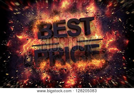 Fiery explosive poster template for Best Price with black text consumed in flames and sparks on a dark background