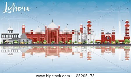 Lahore Skyline with Gray, Red Landmarks and Reflections. Vector Illustration. Business Travel and Tourism Concept with Historic Buildings. Image for Presentation Banner Placard and Web.