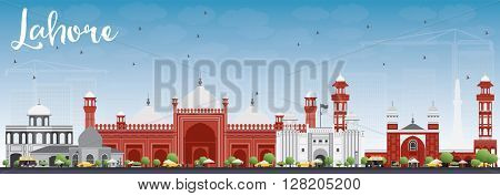 Lahore Skyline with Gray, Red Landmarks and Blue Sky. Vector Illustration. Business Travel and Tourism Concept with Historic Buildings. Image for Presentation Banner Placard and Web.