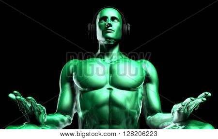 Music Therapy and Mental Stress Release as Concept 3D Illustration Render