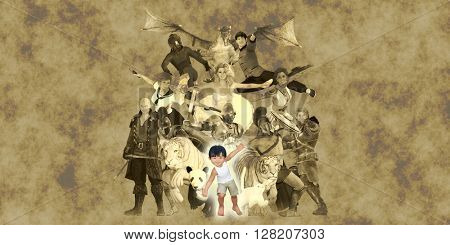 Literary Classics and Fictional Characters Dreamed Up By a Child 3D Illustration Render