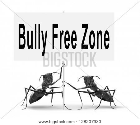 Bully free zone, Stop bullying at school or at work stopping or online.