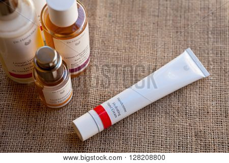 ZAGREB, CROATIA - APRIL 21th, 2016: Dr Hauschka hand cream with a few other Dr. Hauschka products is presented in Zagreb, product shot