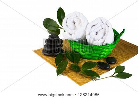 Spa product concept isolated on white. Spa. Spa treatment. Spa concept. Spa massage