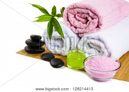 Spa treatments isolated on white. Spa. Spa stones. Wellness spa. Spa concept