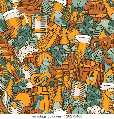 Beer Seamless Pattern in Outline Hand Drawn Doodle Style with Different Objects on Beer Theme. Beer and Snack. Colorful. All elements are separated and editable.  Vector Illustration.