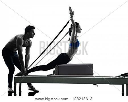 couple pilates reformer exercises fitness isolated poster