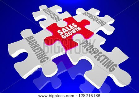 Sales Growth Marketing Advertising Networking Prospect Puzzle Pieces 3d Illustration