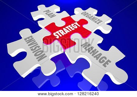 Strategy Envision Plan Organize Manage Puzzle Pieces 3d Animation Words