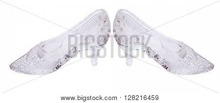 woman glass shoes isolated on white background