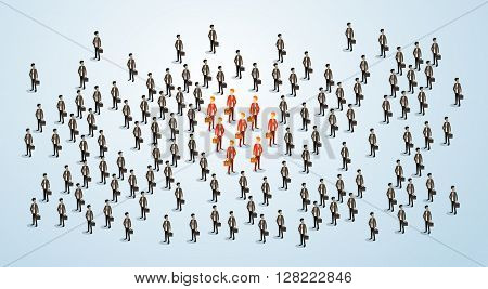 Red Businessman Group Team Human Resource Recruitment Candidate, Business People Crowd Hire Concept 3d Isometric Vector Illustration