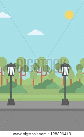 Background of park with streetlight.