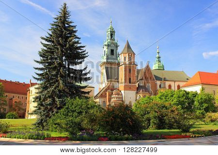 Krakow (Poland) - The Cathedral and the Royal Castle on Wawel Hill.
