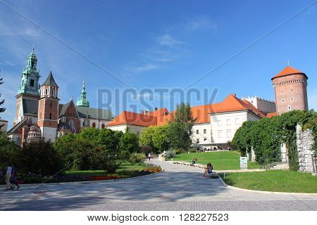 The Cathedral and the Royal Castle on Wawel Hill in Krakow (Poland).