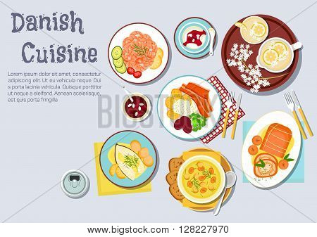 Danish cuisine dishes with shrimp cocktail, roast pork with crackling and baked apples, fried pork belly, served with vegetables and parsley sauce, steamed cod, chicken soup with meatballs, rice pudding with cherry sauce and