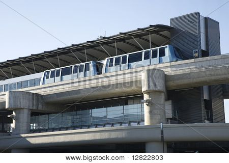 Low angle view of tram at airport.