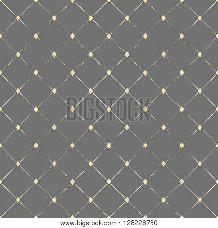 Geometric repeating vector pattern with diagonal dotted lines. Seamless abstract modern pattern. Gray and golden pattern. Dotted pattern. Geometric modern pattern