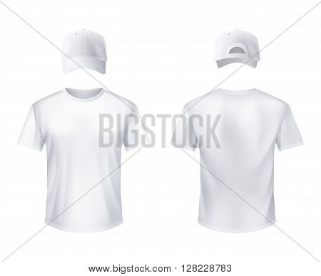 White t-shirt and baseball cap front and back views set realistic design for men illustration vector