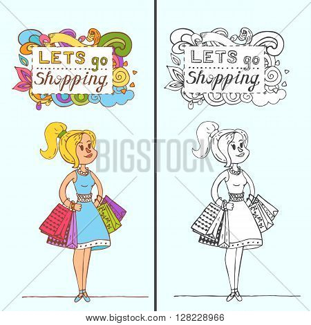 Happy Doodle Girl With Shopping Bags In Shop. Shopper. Sales. Funny Cartoon Character. Vector Illust