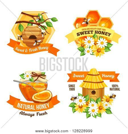 Advertising labels presenting sweet and fresh natural honey with hive bees honeycomb and  jar of honey vector illustration
