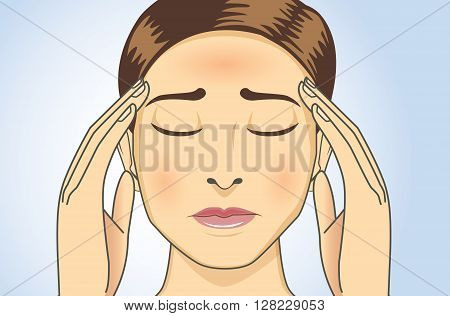 Woman touching her head because she has headaches and fever. This illustration about medical and health.