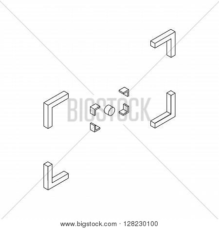Camera viewfinder icon in isometric 3d style on a white background