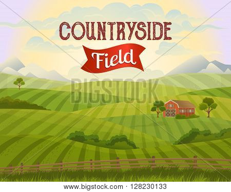 Meadow landscape. Green grass. Countryside meadow. Rural area. Rural fields. Village background. Farming life. Vector illustration in cartoon style. Countryside field. Rural landscape. Countryside house.
