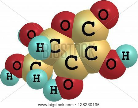 Structural model of Ascorbic Acid known as Vitamin C. Isolated on white background. 3d illustration poster
