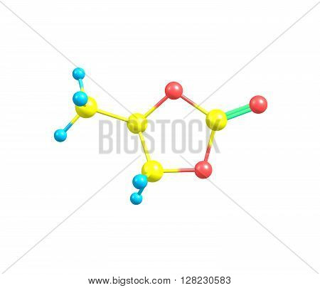 Propylene carbonate is an organic compound with the formula CH3C2H3O2CO. It is a carbonate ester derived from propylene glycol. 3d illustration