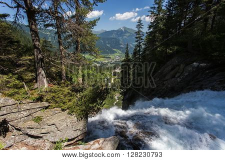 Krimml waterfall in summer Austria. Summer view