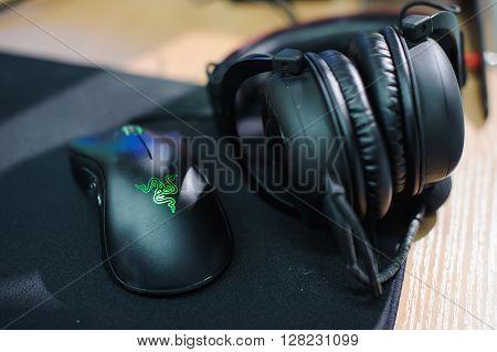 playing mouse and headphones LAN final WePlay League Season 3 Dota 29 April - 1 May Kiev Ukraine