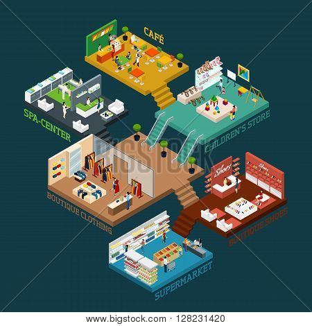 Shopping mall Isometric scheme with different floors and areas and flat icons of people goods and interior vector illustration
