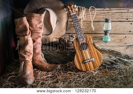 Still life painting photography with ukulele on american west rodeo brown felt cowboy hat and traditional leather boots in vintage ranch barn background